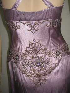 Sue Wong Evening Purple Lavender Beaded Cress   Neck Long Dress 6 NEW