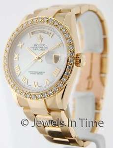Rolex Mens Day Date 118238 P 18k Yellow Gold Diamond Bezel MOP Dial