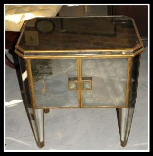 Unusual Vintage Art Deco Smokey Mirrored Night Stand Table NR
