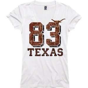 Texas Longhorns Womens White Big Numbers Deep V Neck T