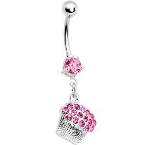 Pink Gem Cupcake Belly Ring Jewelry