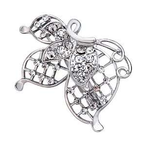 Beautiful White Crystal Butterfly Flower Brooch Pugster Jewelry