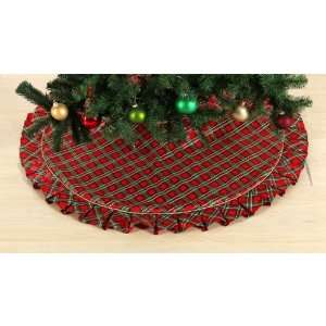 Country Living Vintage Christmas 52in Tree Skirt Red Satin