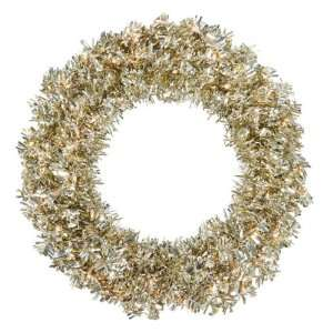 30 Pre Lit Champagne Wide Cut Tinsel Artificial Christmas Wreath