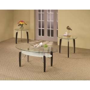 Sets 3 Piece Contemporary Round Coffee & End Table Set
