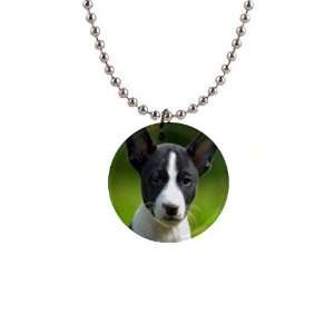 Basenji Puppy Dog Button Necklace B0026