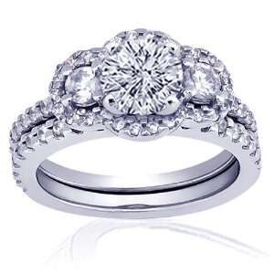 60 Ct Ideal Cut Round Diamond Engagement Wedding Rings Pave Set VVS2