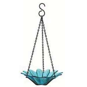 Hanging Colored Glass Bowl Bird Feeder Garden Home Accent