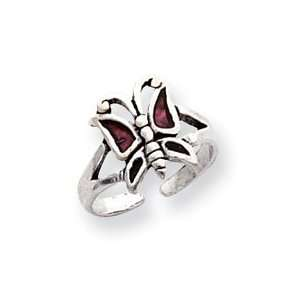 Antiqued Red Enameled Butterfly Toe Ring West Coast Jewelry Jewelry