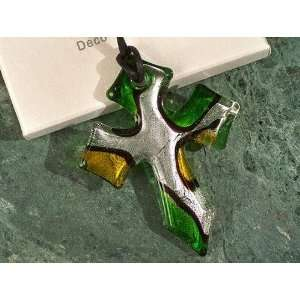 Murano Art Deco Green And Silver Glass Cross Favors