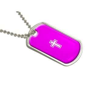 Cross   Christian Hot Pink   Military Dog Tag Luggage