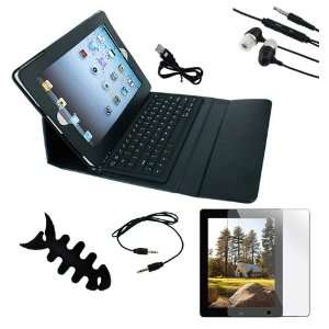 Premium Black Leather with Bluetooth Keyboard Case + Clear
