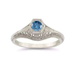 Vintage Art Deco London Blue Topaz Ring in .925 Sterling