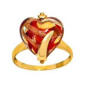 10k Yellow Gold Red Murano Glass Heart Ring, Size 7 Jewelry