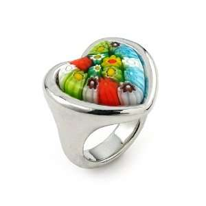 Millefiori Murano Glass Multi Color Heart Ring With Electroform Silver