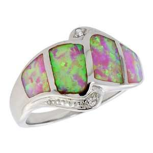 Sterling Silver, Synthetic Pink Opal Ring, w/ Brilliant Cut CZ stone