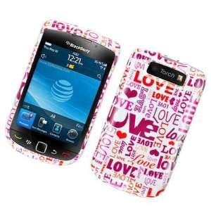 White with Red Pink Love Design Snap on Hard Skin Shell