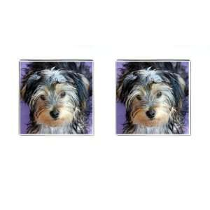 Yorkshire Terrier Puppy Dog 3 Square Cufflinks F0654