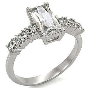 2.5 ct Stainless Steel Classic Engagement Ring With Clear