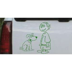 Child With Dog Stick Family Car Window Wall Laptop Decal Sticker