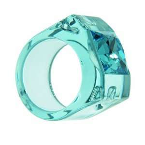 Square Swarovski in a Bold and Clear Light Blue Resin Ring Jewelry
