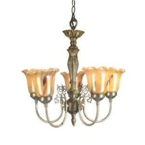 Dale Tiffany Columbus Tulip Five Light Chandelier in Light