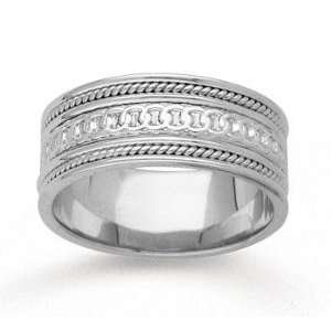 14k White Gold Eternity Circle Hand Carved Wedding Band Jewelry