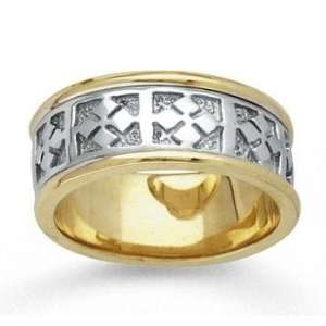 14k Two Tone Gold Elegant Pattern Hand Carved Wedding Band Jewelry