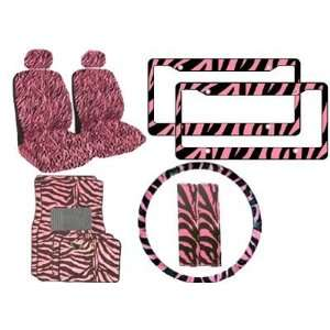 Zebra Pink and Black Steering Wheel Cover, 2 Zebra Pink and Black