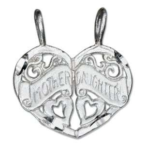 Silver Two Piece Break Apart Heart Mother Daughter Pendant Jewelry