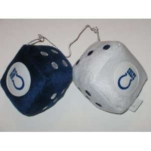 INDIANAPOLIS COLTS Team Logo Pair of FUZZY DICE