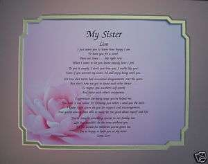SISTER PERSONALIZED POEM BIRTHDAY GIFT IDEA PINK ROSE