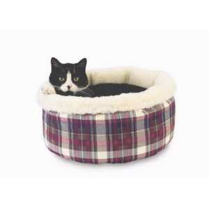 Comfy Curler Cat Bed Red Paw Plaid