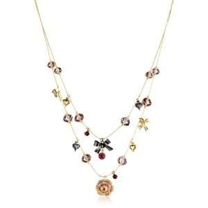 Betsey Johnson Iconic Ombre Rose 2 Row Illusion Necklace