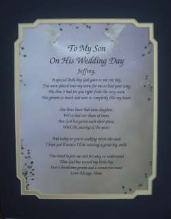 TO MY SON ON HIS WEDDING DAY POEM PERSONALIZED GIFT