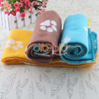 Handcrafted Cozy Warm Paw Prints Pet Dog Cat Fleece Blanket Mat