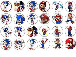 24 x Super mario & sonic the hedgehog Cake Tops 1.6